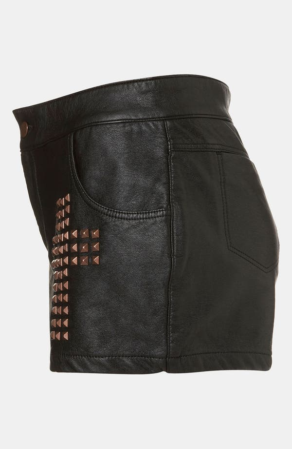 Alternate Image 3  - Topshop Studded Cross Faux Leather Shorts