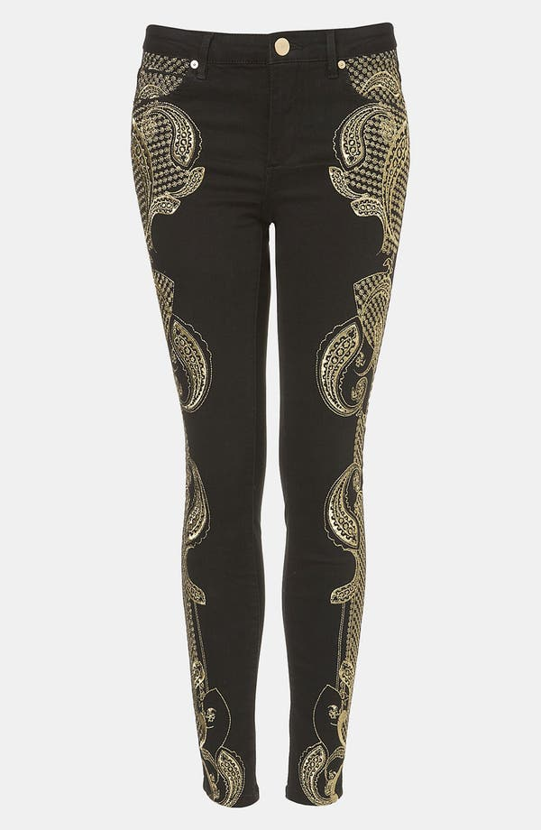 Main Image - Topshop 'Antonio' Embroidered Skinny Jeans