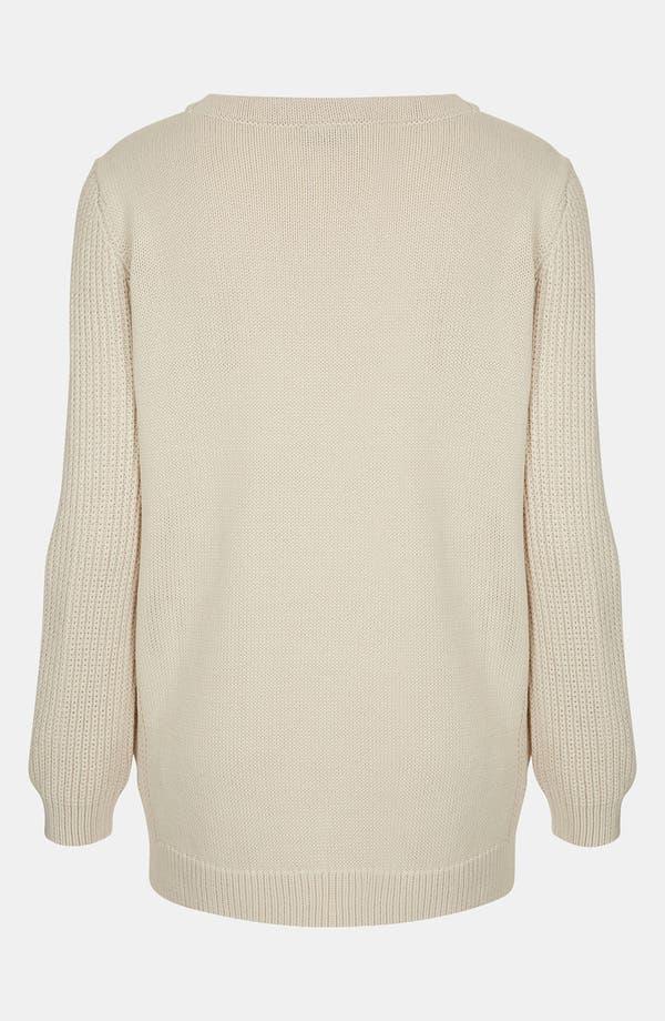 Alternate Image 2  - Topshop Ribbed Sleeve Sweater