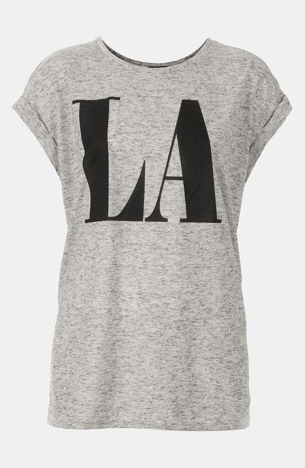 Alternate Image 1 Selected - Topshop 'LA' Roll Sleeve Graphic Tee