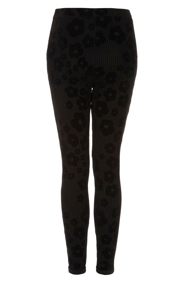 Alternate Image 2  - Topshop Flocked Daisy Leggings