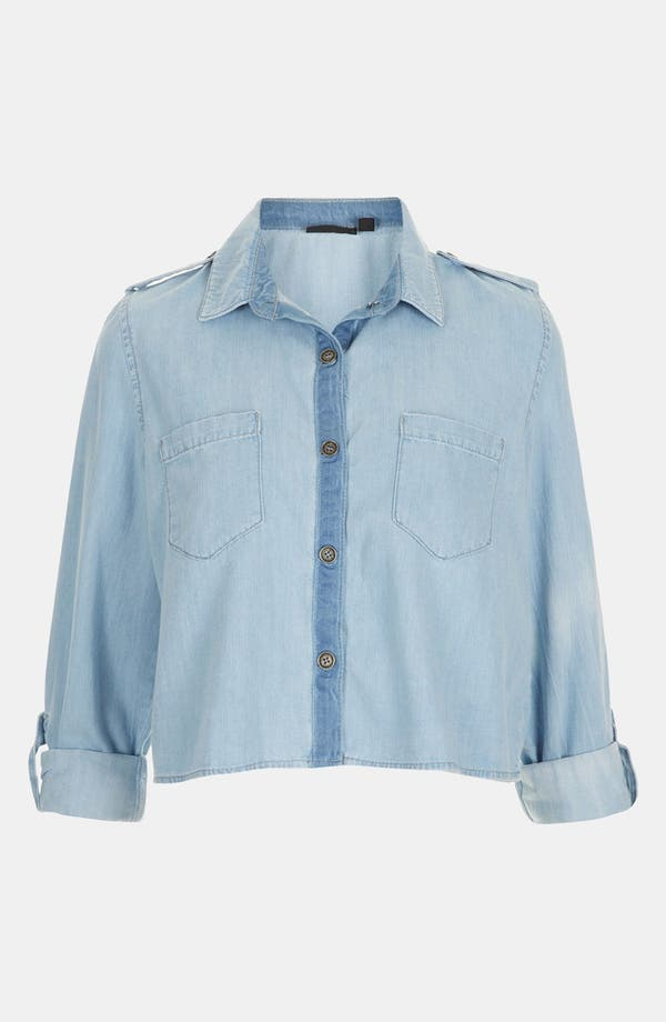 Main Image - Topshop Crop Chambray Shirt