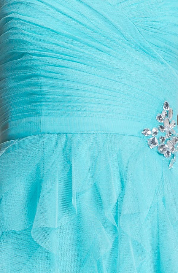 Alternate Image 3  - Hailey Logan Bandage Back High/Low Tulle Gown (Juniors)