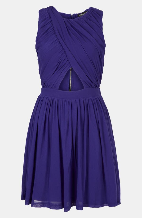 Main Image - Topshop Ruched Wrap Bodice Skater Dress