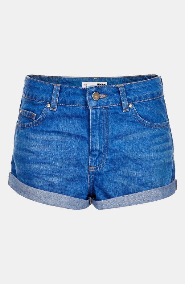 Main Image - Topshop Moto 'Polly' Denim Shorts (Petite)