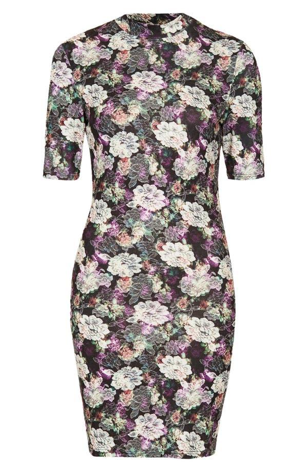 Alternate Image 3  - Topshop Lace Print Mock Neck Dress
