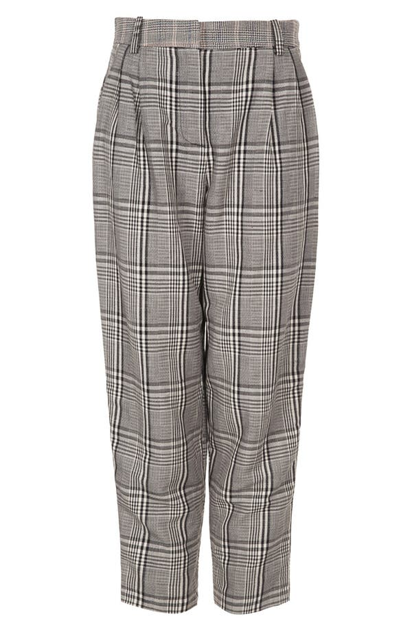 Alternate Image 3  - Topshop Plaid Tapered Crop Trousers