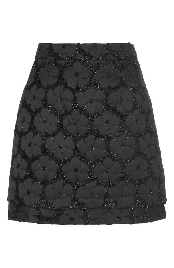 Alternate Image 3  - Topshop Floral Textured Skirt