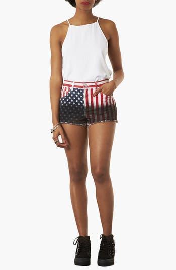 Alternate Image 4  - Topshop Moto Flag Dip Dye Shorts