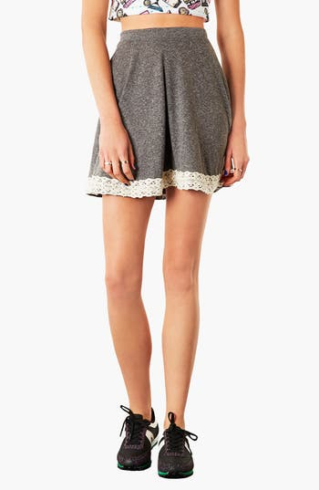 Alternate Image 1 Selected - Topshop Lace Hem Skater Skirt