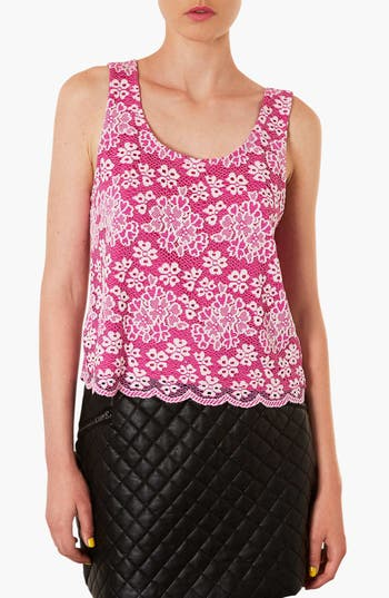 Alternate Image 1 Selected - Topshop Scalloped Lace Tank
