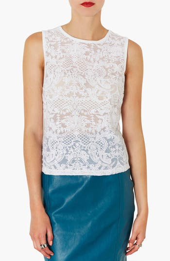Alternate Image 1 Selected - Topshop Embroidered Chiffon Shell