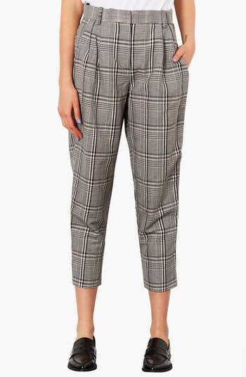 Main Image - Topshop Plaid Tapered Crop Trousers
