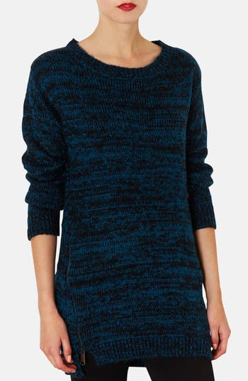 Main Image - Topshop Side Zip Tweed Sweater