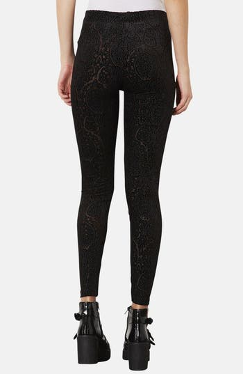 Alternate Image 2  - Topshop Burnout Velvet Leggings