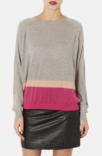 Alternate Image 1 Selected - Topshop Colorblock Merino Wool Sweater