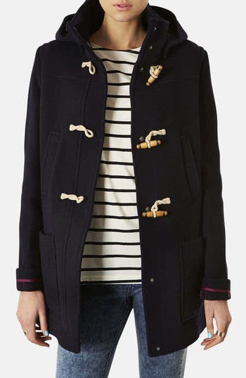 Main Image - Topshop Hooded Toggle Duffle Coat