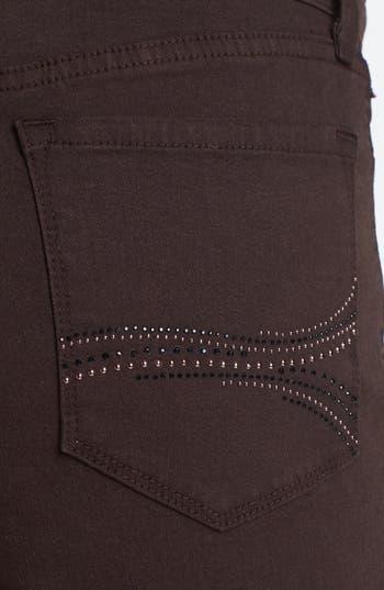 Alternate Image 2  - NYDJ 'Marilyn' Embellished Pocket Stretch Straight Leg Jeans (Ganache) (Regular & Petite)