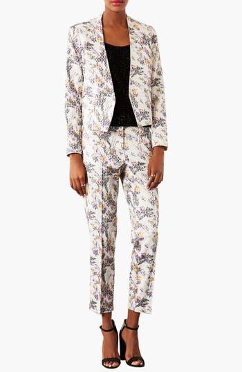 Alternate Image 3  - Topshop Floral Jacquard Crop Trousers