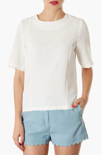 Alternate Image 1 Selected - Topshop Elbow Sleeve Woven Tee