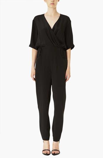 Main Image - Topshop Boutique 'Linda' Silk Surplice Jumpsuit
