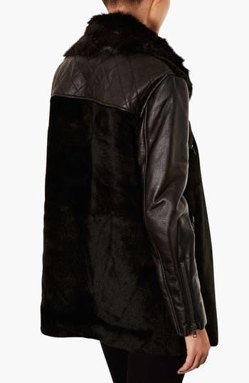 Alternate Image 2  - Topshop Faux Fur Biker Jacket