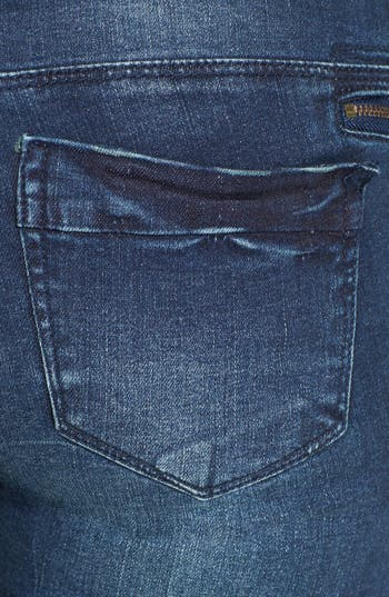 Alternate Image 3  - Fire Zipper Detail Skinny Jeans (Dark) (Juniors)