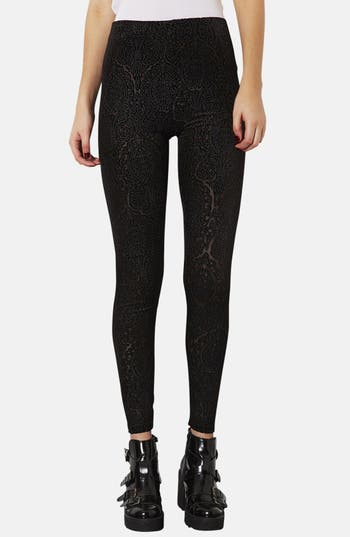 Main Image - Topshop Burnout Velvet Leggings