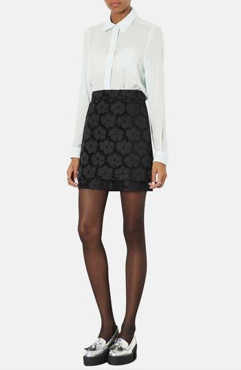 Alternate Image 5  - Topshop Floral Textured Skirt