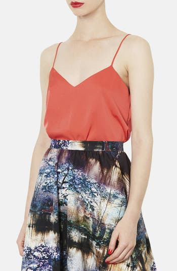 Alternate Image 1 Selected - Topshop Double V-Neck Satin Camisole