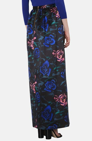 Alternate Image 2  - Topshop Rose Pattern Satin Maxi Skirt