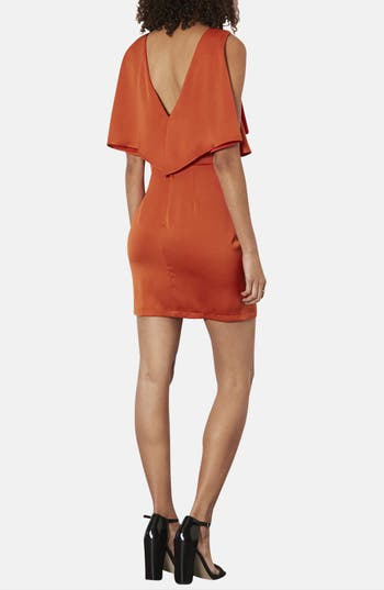 Alternate Image 2  - Topshop Ruffled Bodice Satin Body-Con Dress