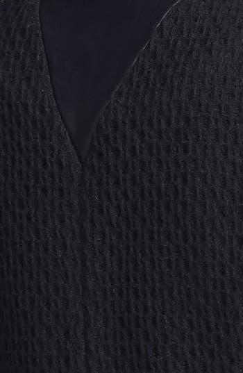 Alternate Image 3  - bebe Collarless Wool Blend & Faux Leather Jacket