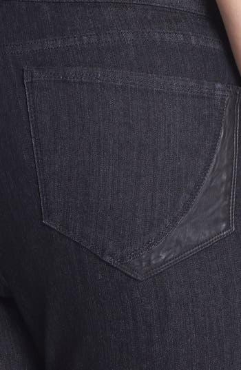 Alternate Image 3  - NYDJ 'Marilyn' Faux Leather Detail Straight Leg Jeans (Plus Size)