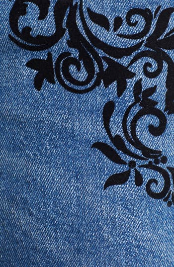 Alternate Image 3  - Fire Felt Detail Denim Cutoffs (Medium) (Juniors)