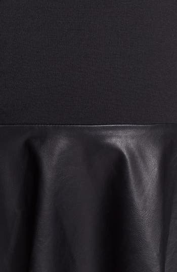 Alternate Image 5  - Halogen® Faux Leather & Ponte Flared Skirt