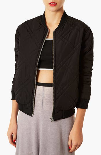 Alternate Image 1 Selected - Topshop Stitch Detail Bomber Jacket