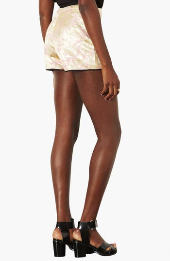 Alternate Image 2  - Topshop Metallic Jacquard Shorts