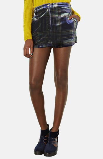 Main Image - Topshop Checkered Velvet Shorts