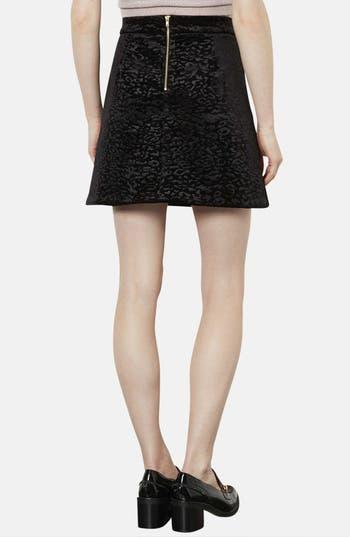 Alternate Image 2  - Topshop Animal Pattern Velvet A-Line Skirt