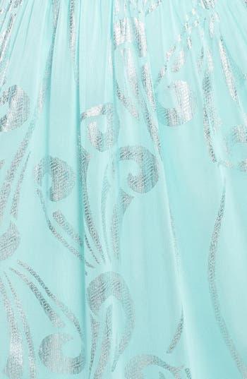Alternate Image 3  - Way-In Foil Print One-Shoulder Gown (Juniors)