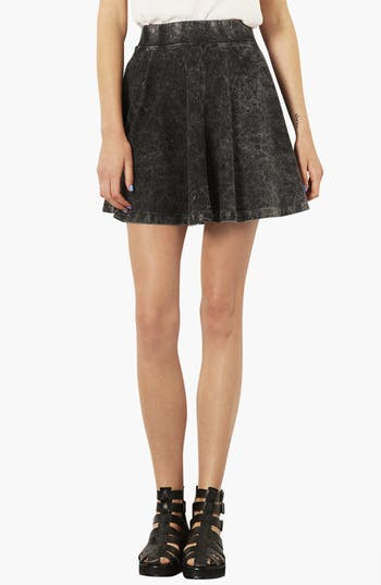 Alternate Image 1 Selected - Topshop Moto Acid Wash Denim Skater Skirt