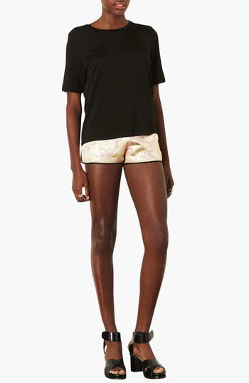 Alternate Image 4  - Topshop Metallic Jacquard Shorts
