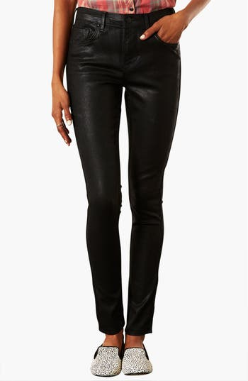 Main Image - Topshop Moto 'Leigh' Coated Skinny Jeans (Black) (Short)