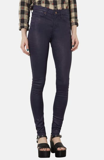 Main Image - Topshop Moto 'Leigh' Coated High Rise Skinny Jeans (Navy Blue) (Short)