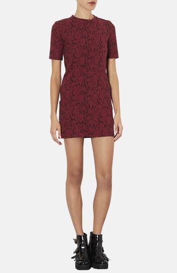 Alternate Image 1 Selected - Topshop Mock Neck Floral Jacquard Dress (Petite)
