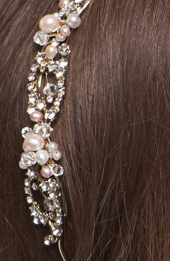 Alternate Image 2  - Nina 'Elaine' Crystal & Faux Pearl Headband