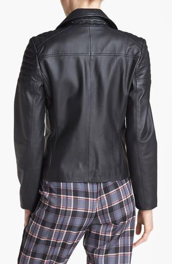 Alternate Image 2  - Mural Quilted Leather Biker Jacket