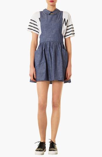 Alternate Image 1 Selected - Topshop Chambray Pinafore Dress