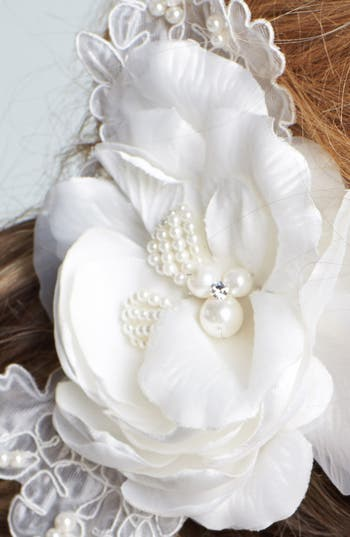 Alternate Image 2  - Wedding Belles New York 'Lucia' Faux Pearl & Crystal Flower Clip